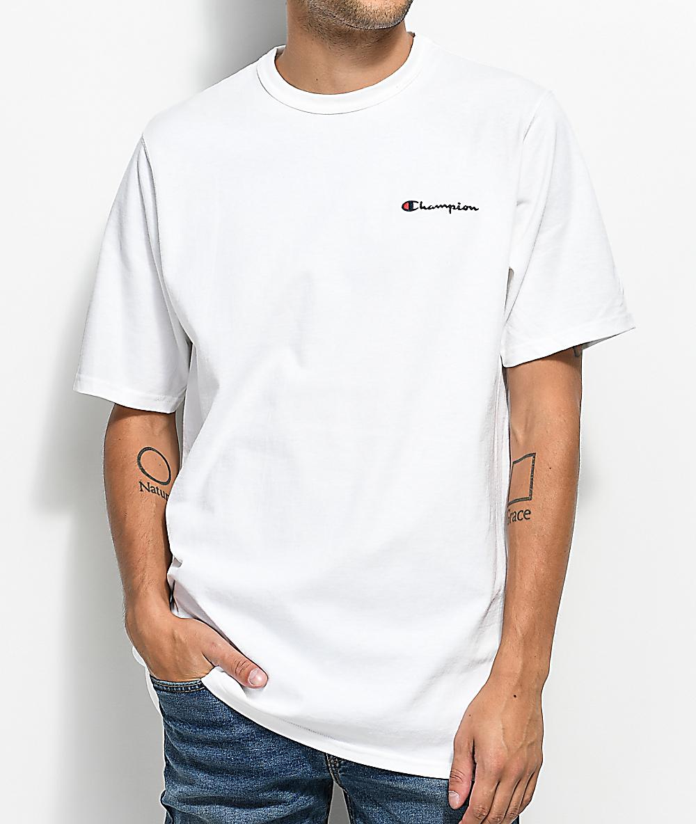 7b9782514c1f40 Champion Heritage Embroidered Script White T-Shirt | Zumiez