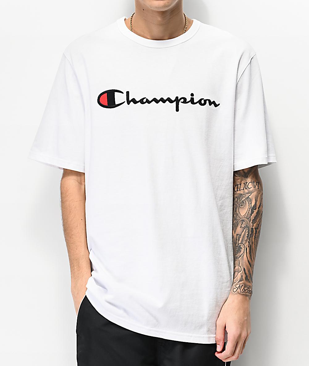 dernières conceptions diversifiées achat authentique baskets pour pas cher Champion Heritage Embroidered White T-Shirt