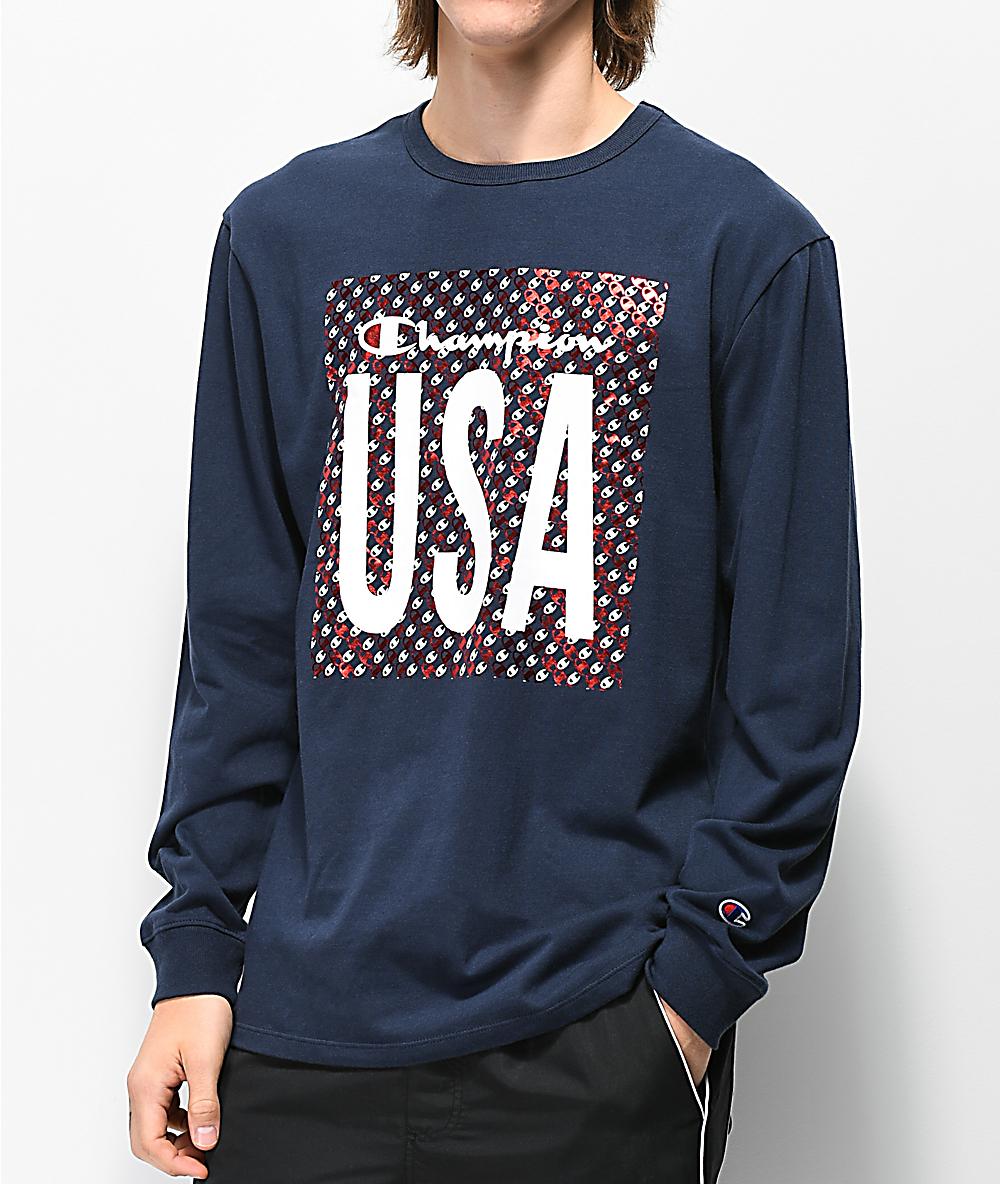 aeda73270907 Champion Heritage USA Navy Long Sleeve T-Shirt | Zumiez
