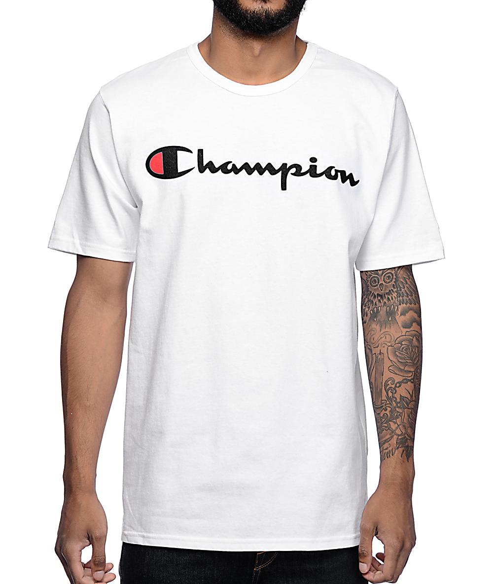 Champion Logo White T Shirt Zumiez