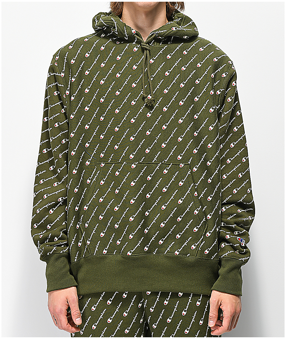 272f8cb4a Champion Reverse Weave All Over Print Green Hoodie