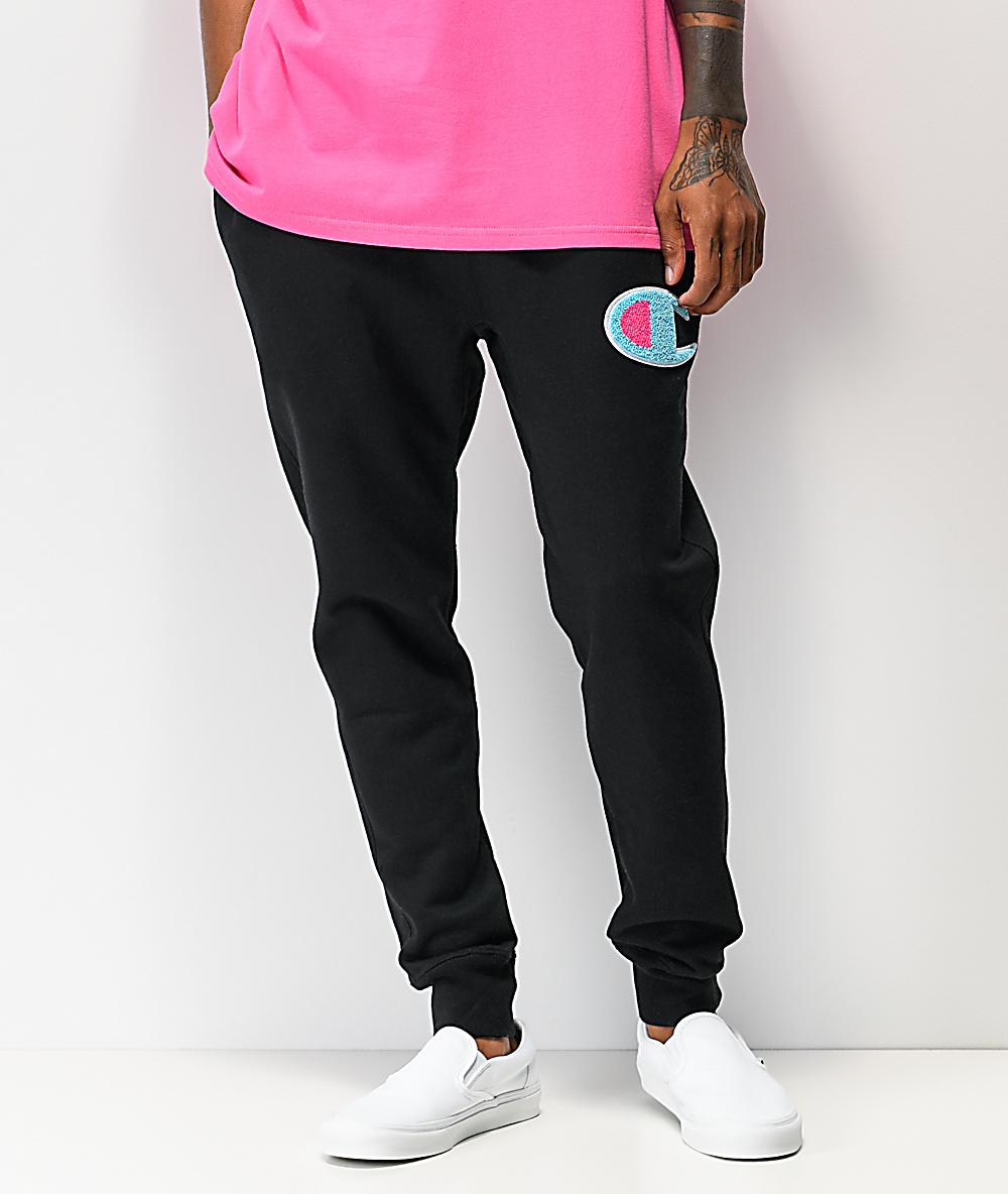 Champion Mens Reverse Weave Black Jogger Sweatpants With Chenille Patch SZ Large
