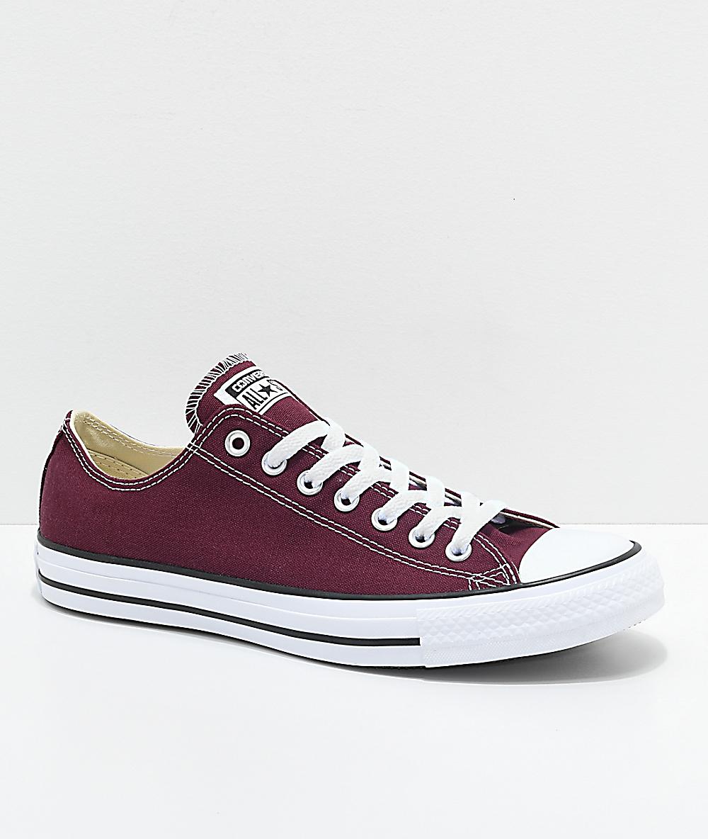 c2d852c418 Converse Chuck Taylor All Star Ox Burgundy & White Shoes   Zumiez