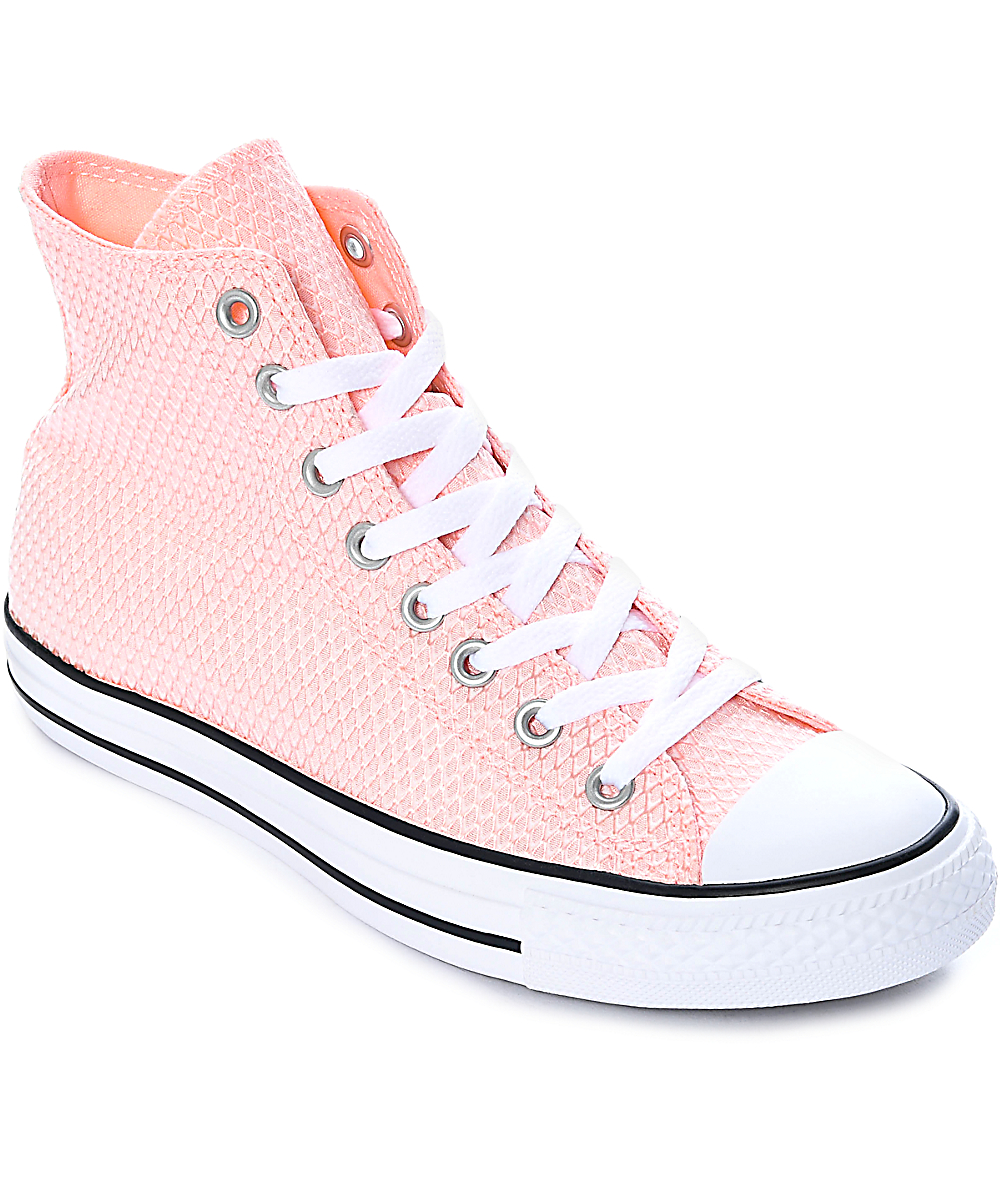 Converse Women/'s Chuck Taylor All Star High White Vapor Pink White Sneaker