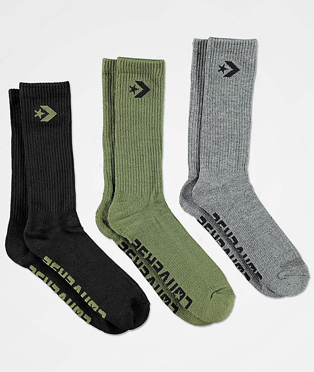 104818f685b79 Converse Classic Star Chevron Olive, Dark Grey & Black 3 Pack Crew Socks