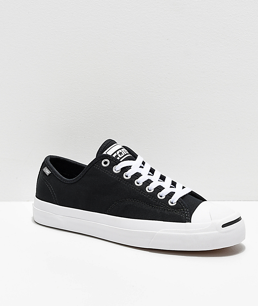 d9bd1ed5915d3 Converse Jack Purcell Pro Rip-Through Flame Black & White Skate Shoes