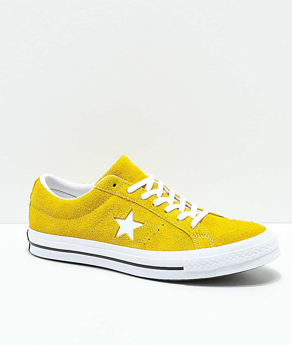 98d8698ad53 Converse One Star Mineral Yellow, White & Black Suede Skate Shoes | Zumiez
