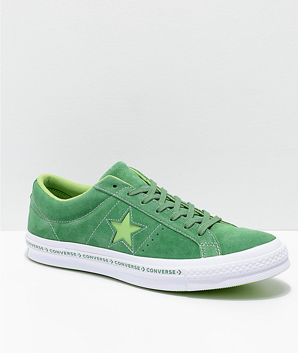 volumen grande venta caliente barato disfruta del precio de descuento Converse One Star Pinstripe zapatos de skate en color verde menta, jade  lima, y blanco