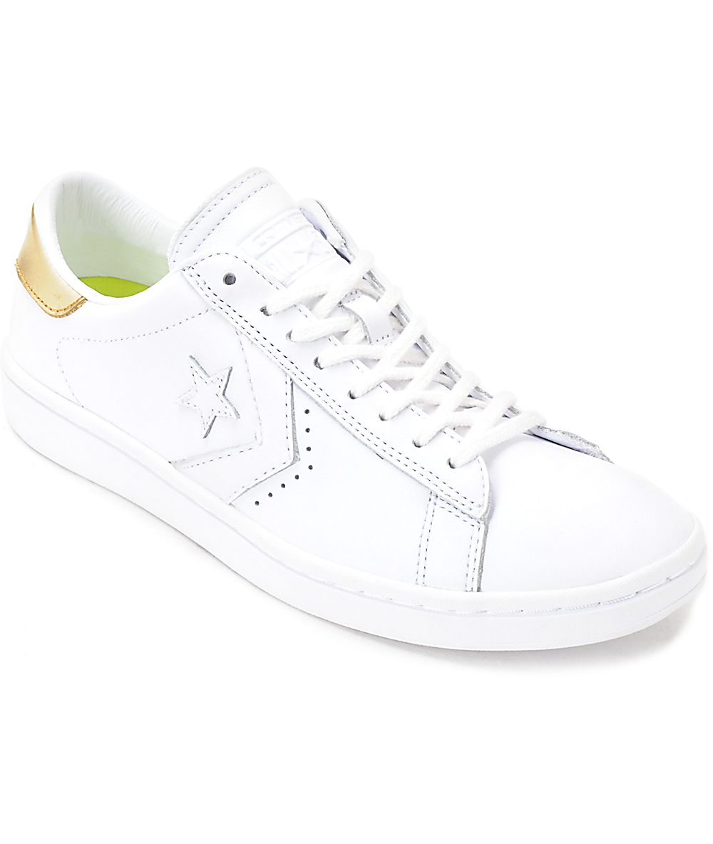 Converse PL LP Ox White & Gold Womens Leather Shoes
