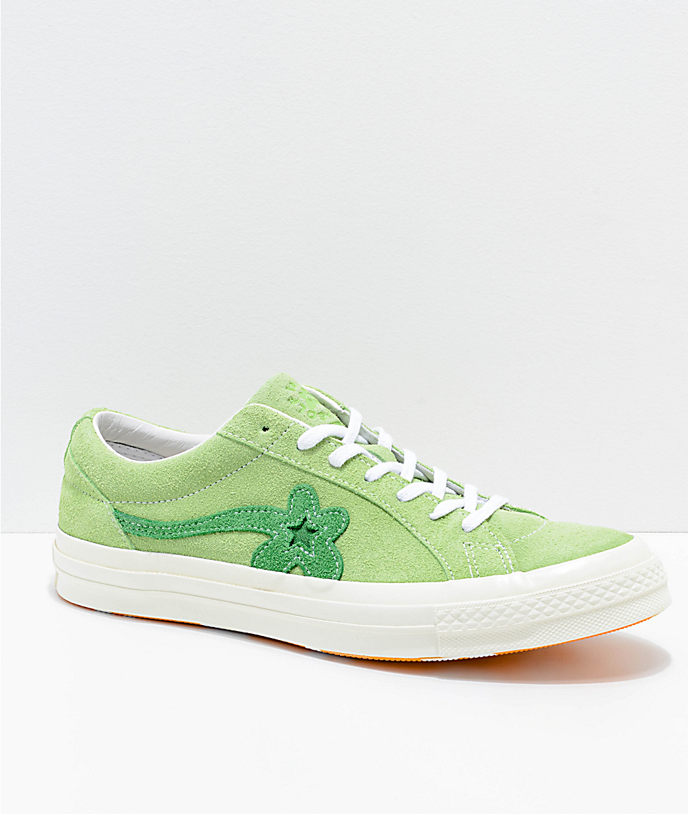 Converse X Golf Wang One Star Le Fleur Jade Lime Shoes Zumiez