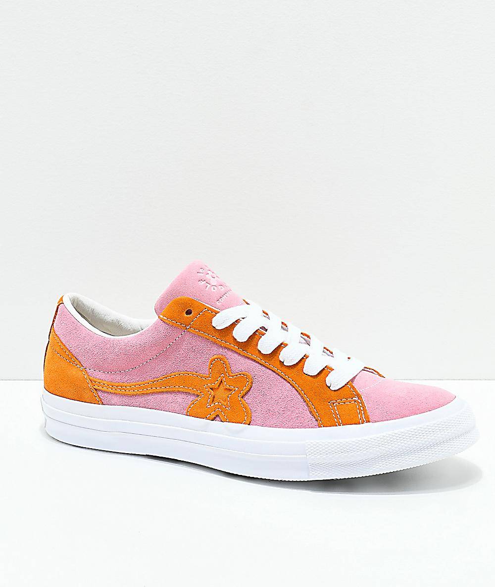 Converse X Golf Wang One Star Le Fleur Pink Orange Peel Skate Shoes Zumiez