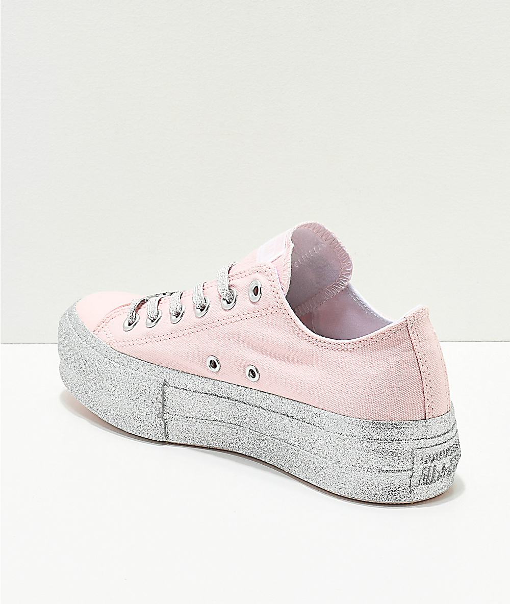 Converse x Miley Cyrus Lift Pink Glitter Shoes