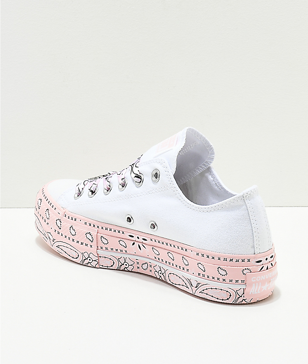 Converse Womens Miley Cyrus Chuck Taylor Lift Low Top Platform Sneakers in White & Paisley Pink