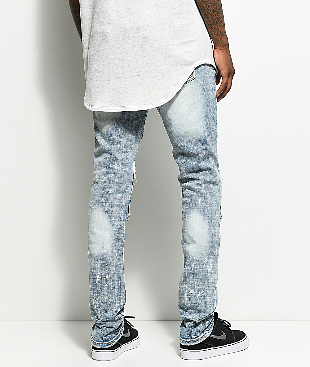 d664301f35e Crysp Denim Ali Distressed Stone Washed Light Blue Moto Jeans | Zumiez