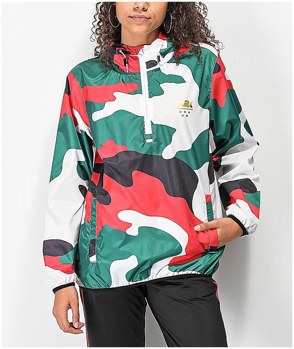 471ed655862f7 DGK Green, Red, White & Black Camo Anorak Jacket   Zumiez