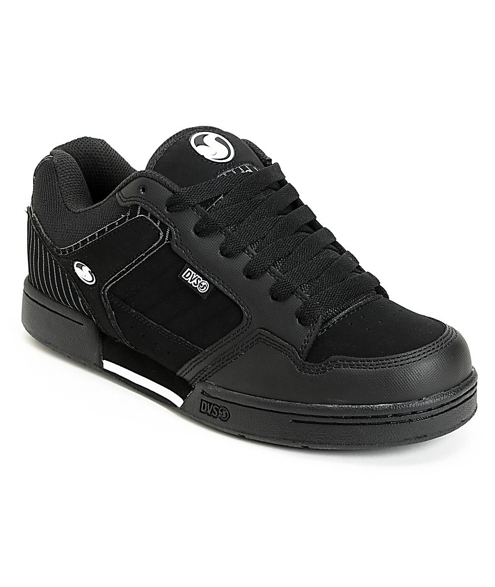 DVS Transom Black Nubuck Pin Stripe Skate Shoes