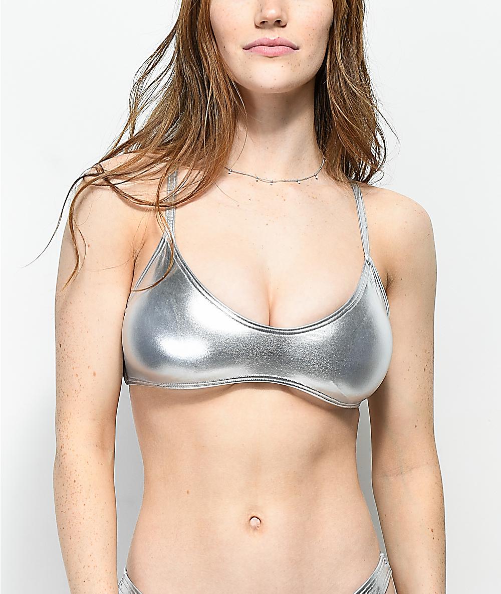 c113ece09 Damsel Metallic Silver Bralette Bikini Top | Zumiez
