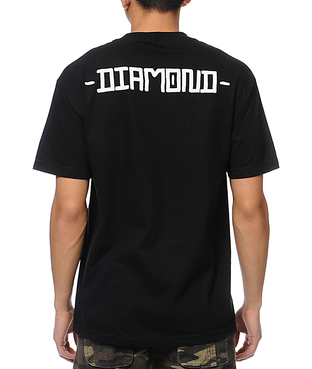 DIAMOND SUPPLY Skateboard T Shirt SKULL BLACK sz M