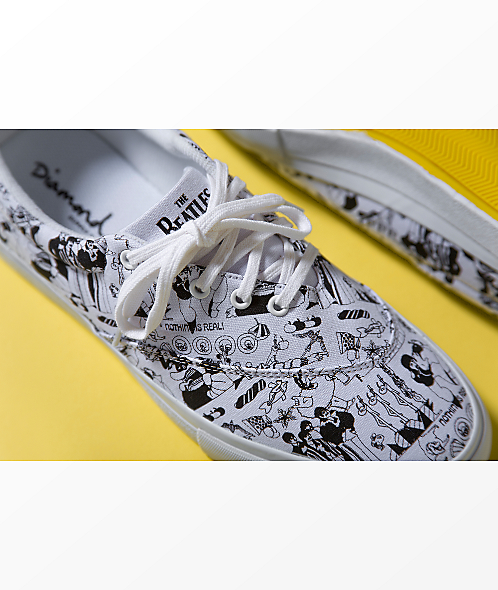 ea1b6e0fe41 Diamond Supply Co. x The Beatles Avenue White & Black Skate Shoes | Zumiez
