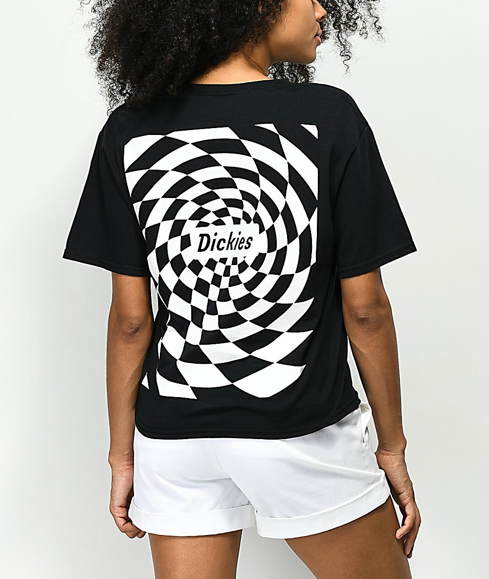 42b48307 Dickies Spiral Checker Black Crop T-Shirt | Zumiez