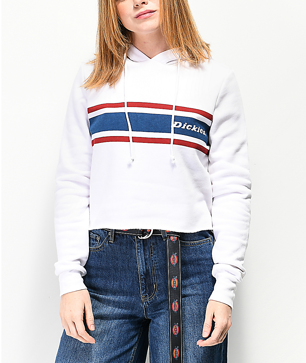 new collection price reduced modern style Dickies Vintage Stripe White Crop Hoodie