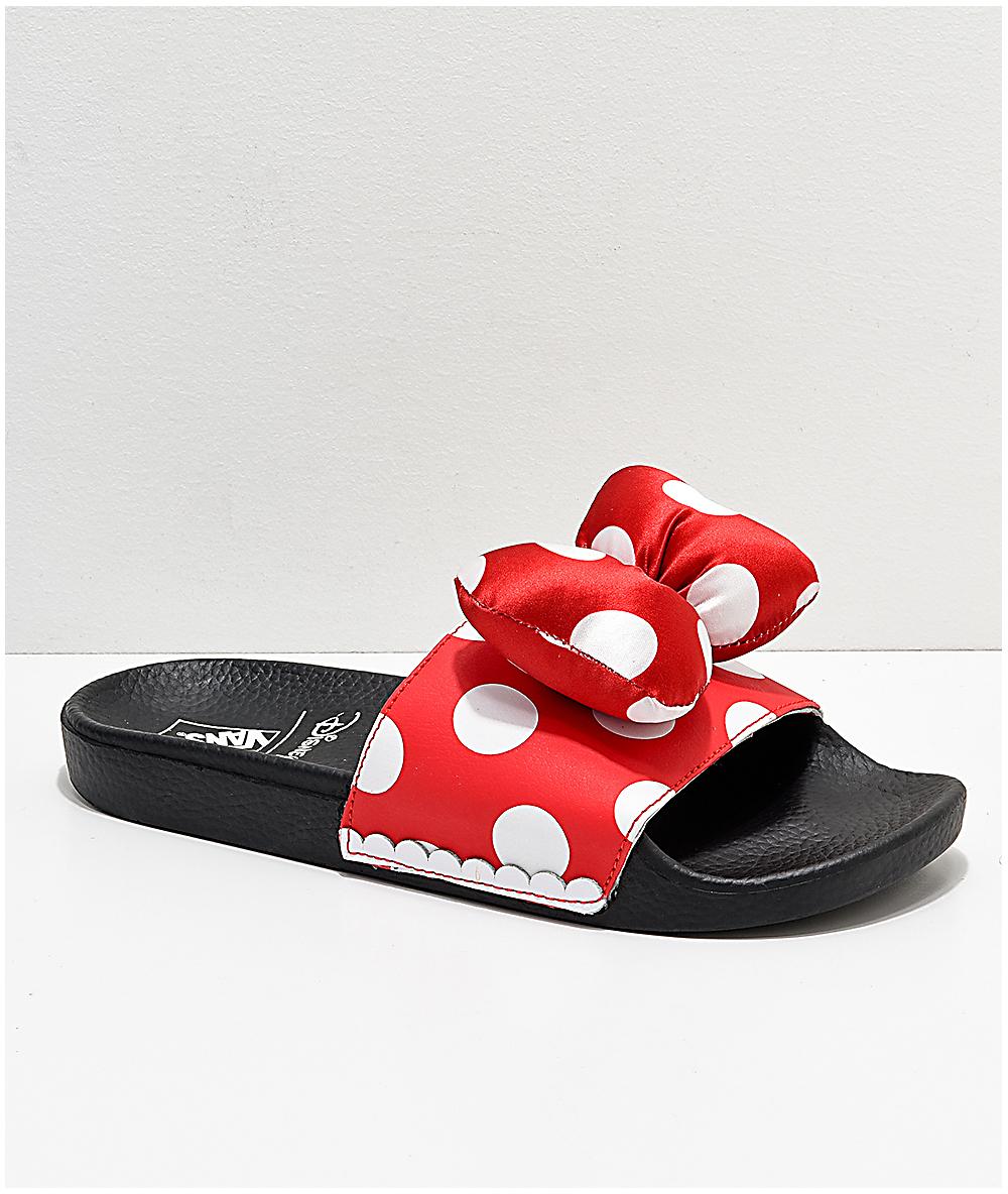 Vans Sandals Bow Minnie's Disney By Slide Red On T1J3uKFc5l