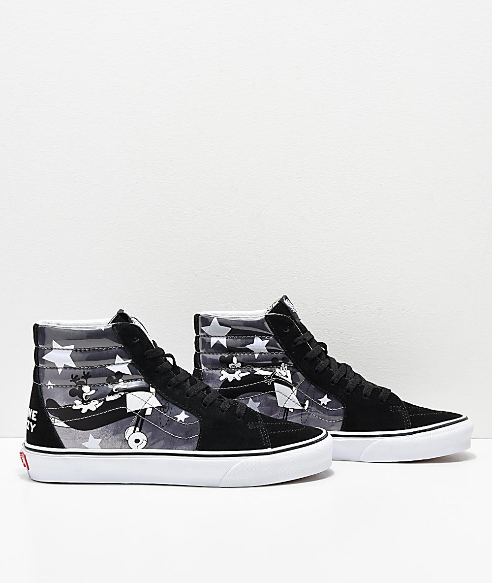 Disney x Vans Sk8 Hi Mickey Plane Crazy Black & White Shoes
