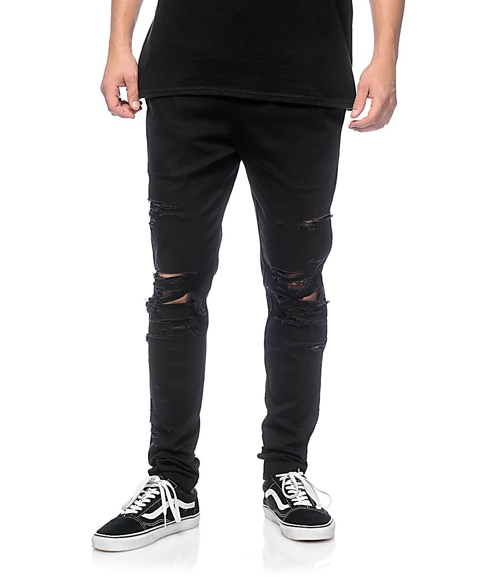 New EPTM Mens Thrasher Ripped Fashion Cotton Span Distressed Slim Fit Long Pants