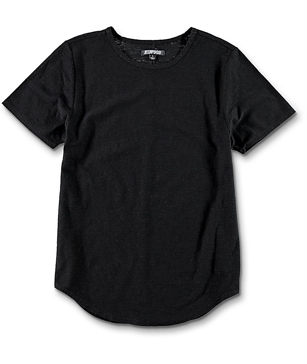 51b17846c Elwood Boys Curved Seam Hem Black T-Shirt | Zumiez