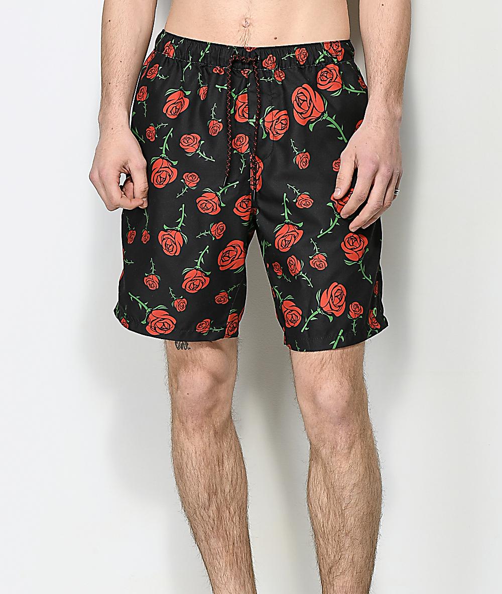 4312affc14 Empyre Grom Rose Black Elastic Waist Board Shorts | Zumiez