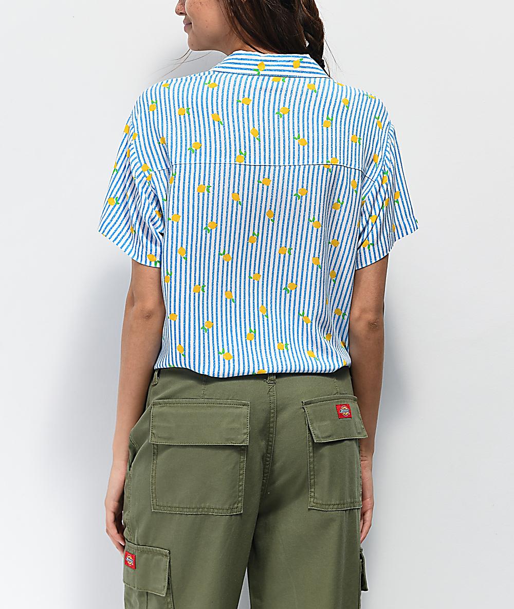 Empyre Hilo Lemon Blue & White Striped Short Sleeve Button Up Shirt