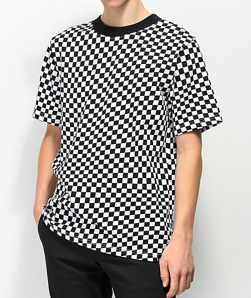 be380103bdbc Empyre Wavy Checkered Black & White T-Shirt | Zumiez