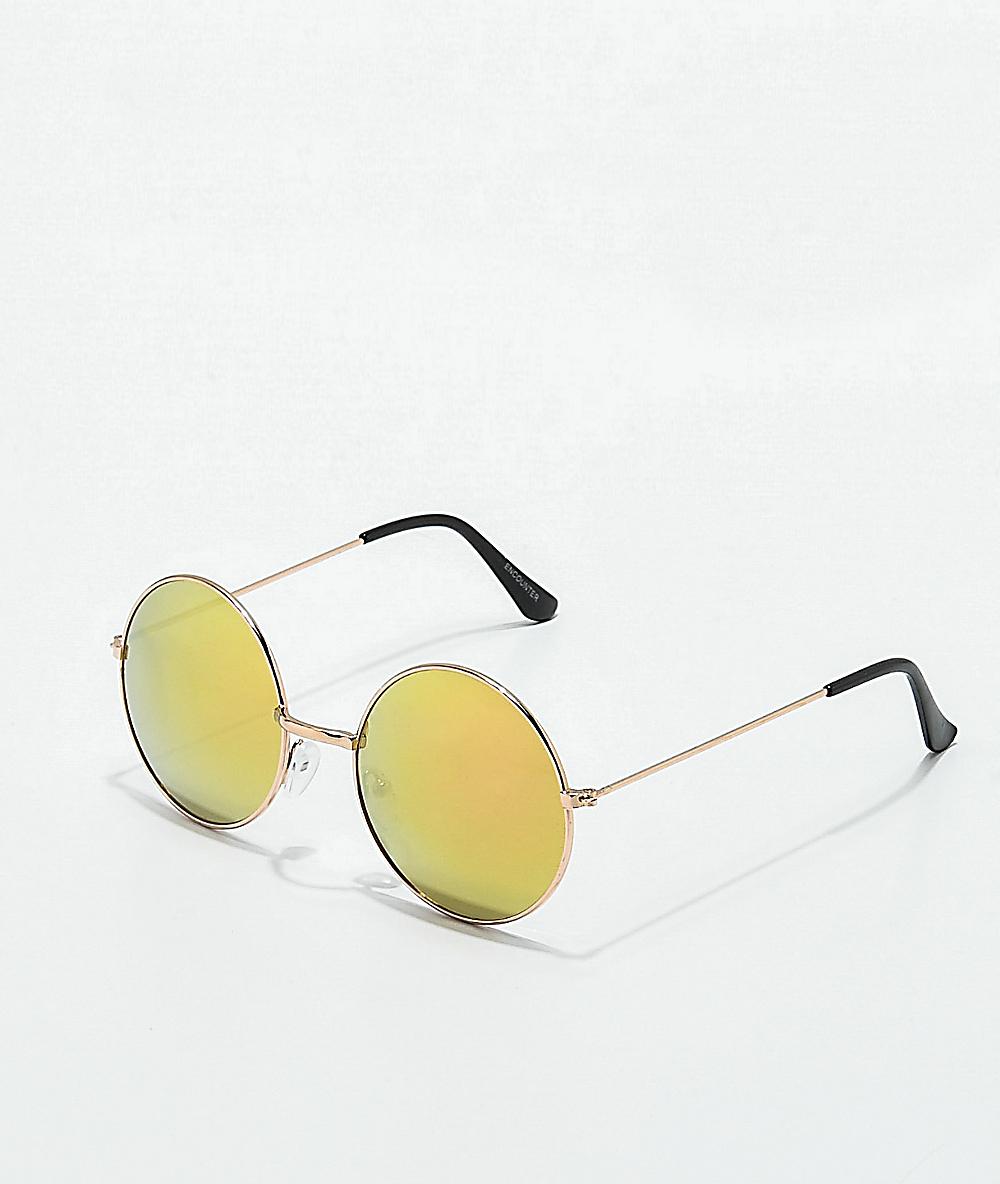 Sunglasses Gold Encounter Rose Round Mirror qGzMSUVp