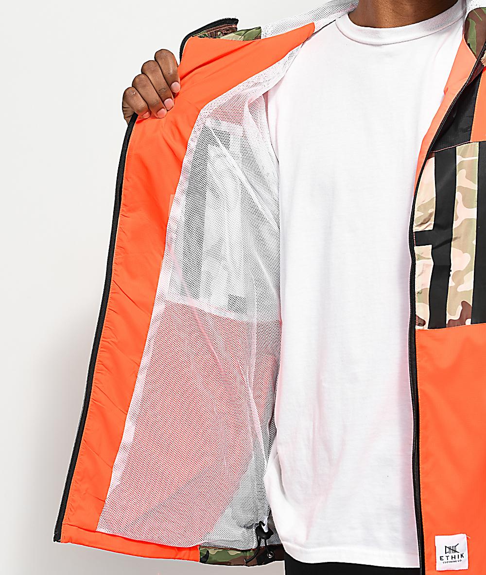 a5f09ea563d26 Ethik Game Assassin Orange & Camo Windbreaker Jacket | Zumiez