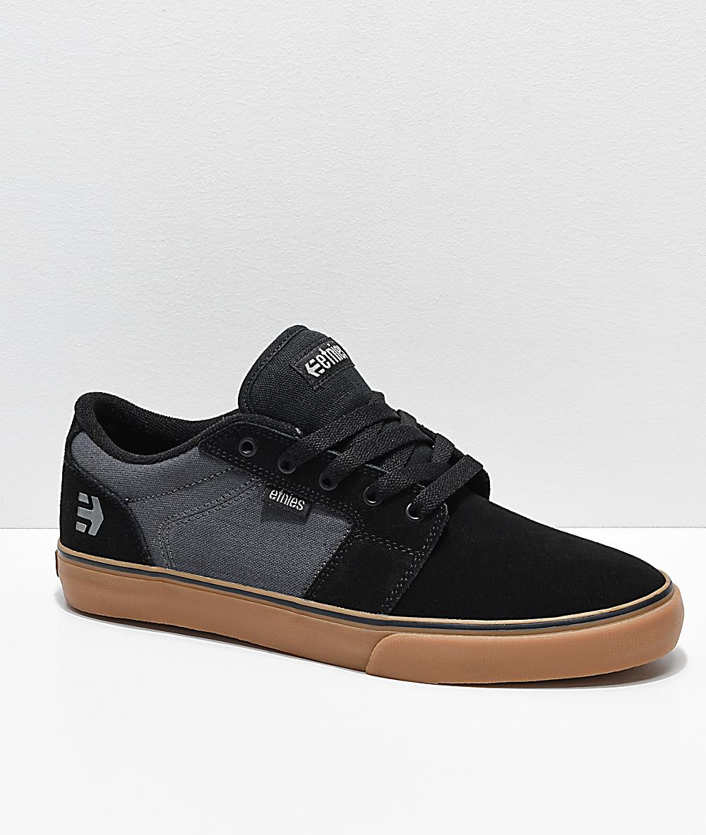 Etnies Barge LS Black, Dark Grey & Gum Skate Shoes
