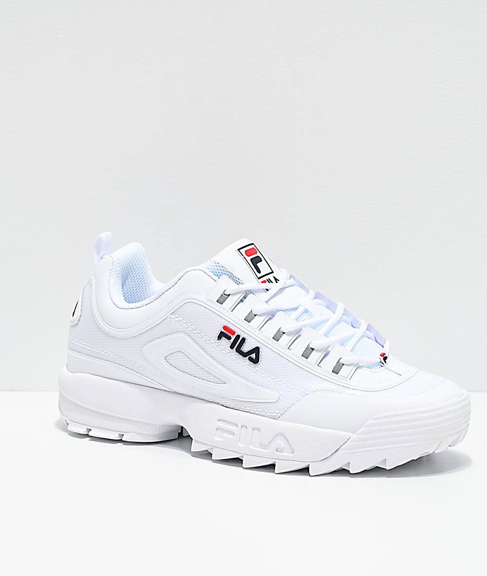 FILA Disruptor II No-Sew zapatos blancos, azules y rojos para hombres