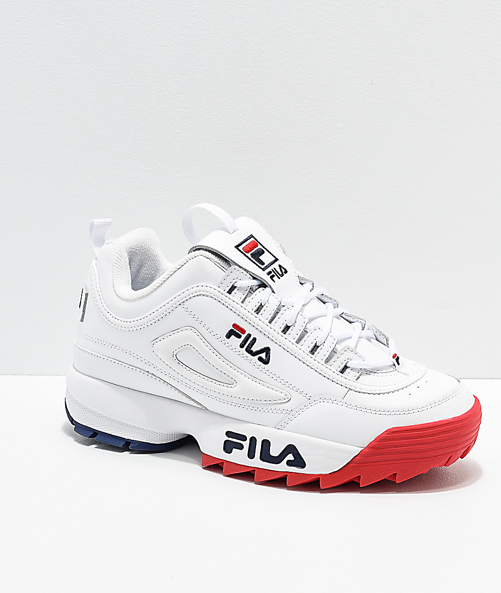 FILA Disruptor II Premium White, Red & Blue Shoes