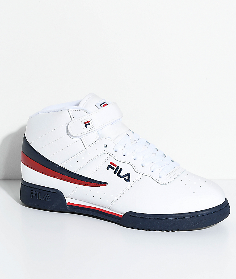 FILA F 13 White, Navy & Red Shoes