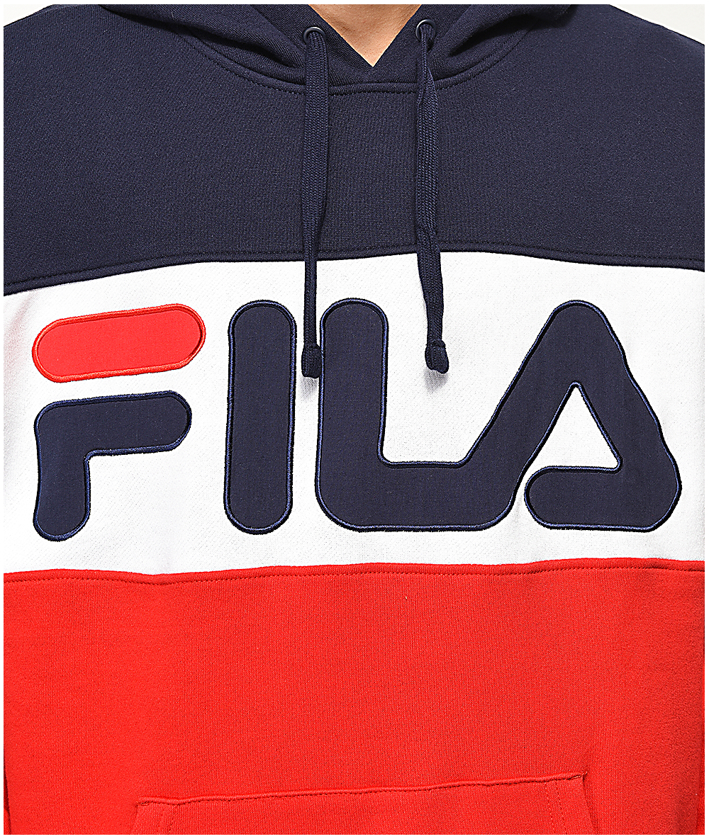 FILA Flaminio Navy, Red & White Color Blocked Hoodie