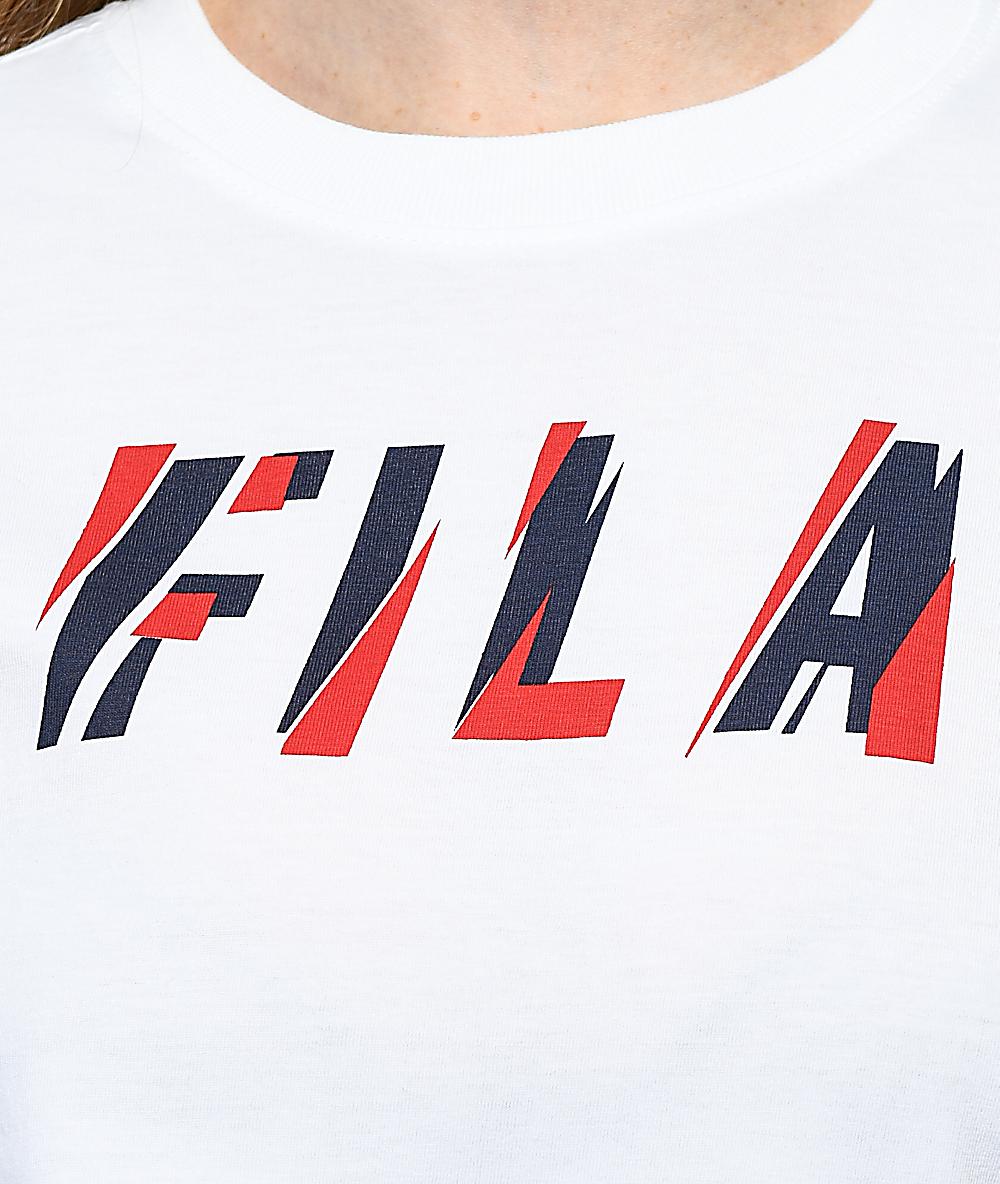ef4a1fee0ab473 FILA Uma White, Red and Navy Long Sleeve T-Shirt | Zumiez