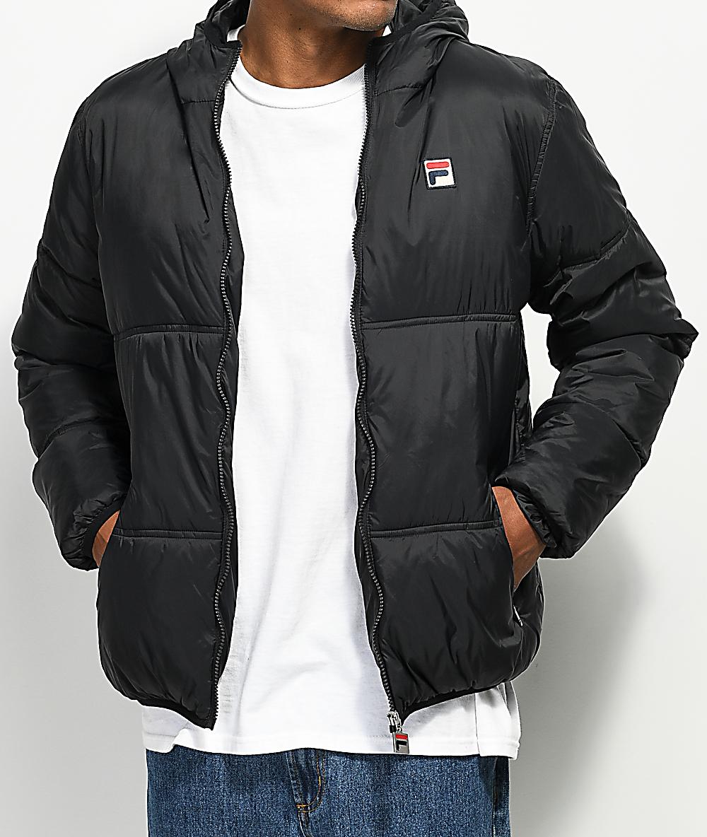 8d8622c28eee FILA Vincenzi Black Quilted Jacket | Zumiez