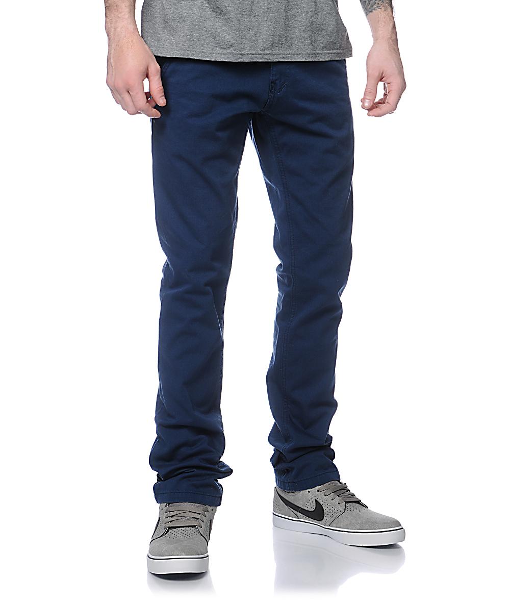 b0b059a48a8d Free World Drifter Slim Straight Fit Navy Chino Pants | Zumiez