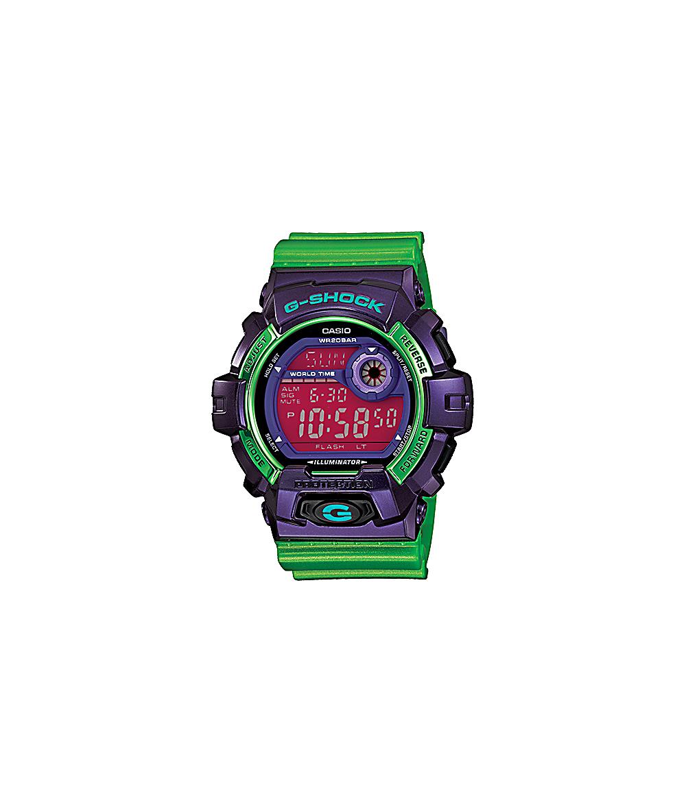 dfba2b3f8 G-Shock G8900SC-6 Crazy Color Purple & Green Digital Watch | Zumiez
