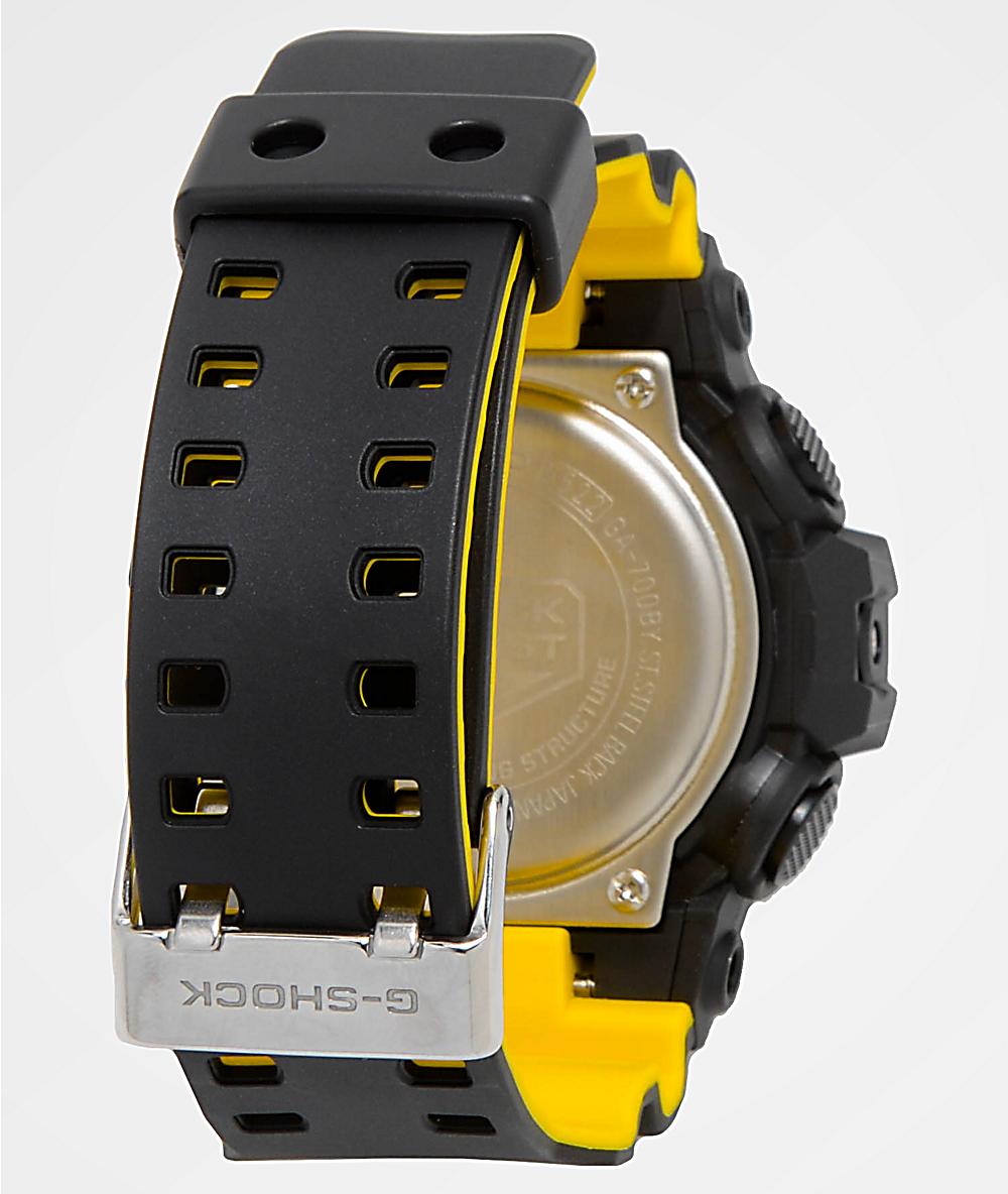 new style 6f389 58827 G-Shock GA700 Black & Yellow Watch