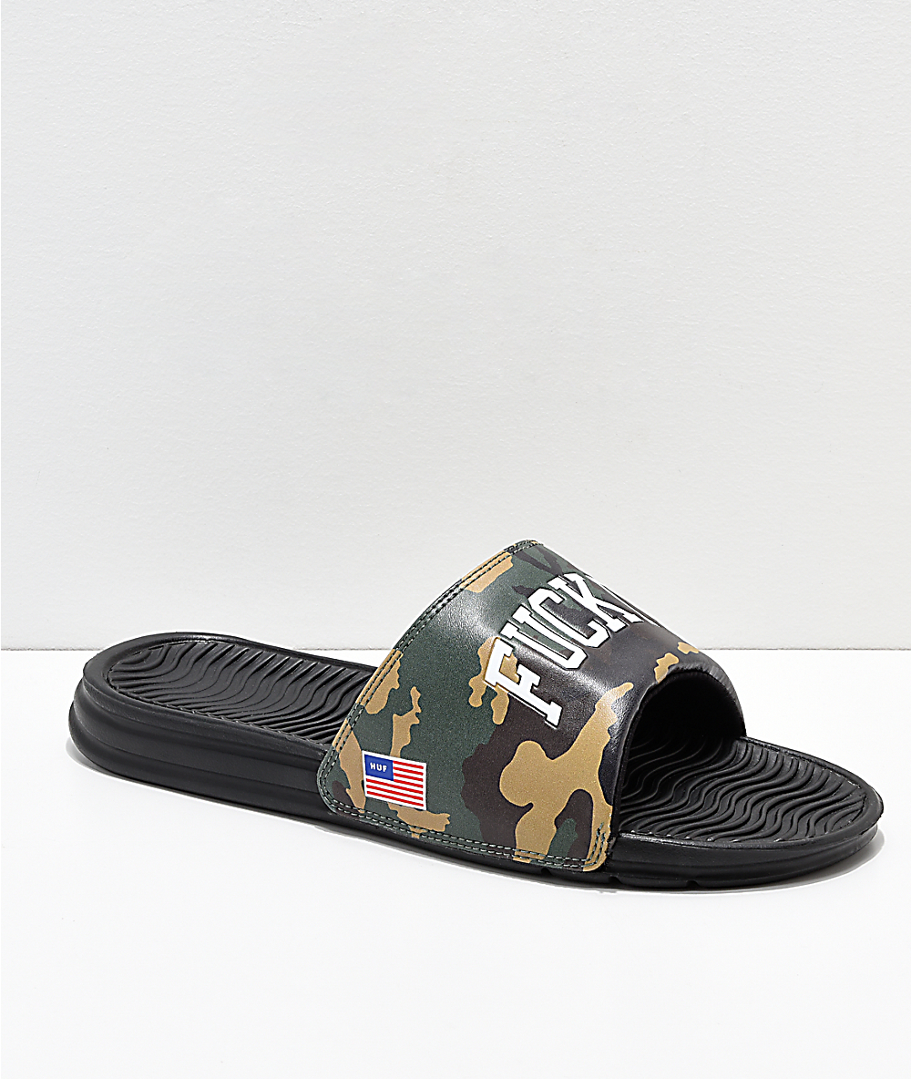 0e83314d6 HUF 4th Fuck It Camo Slide Sandals | Zumiez