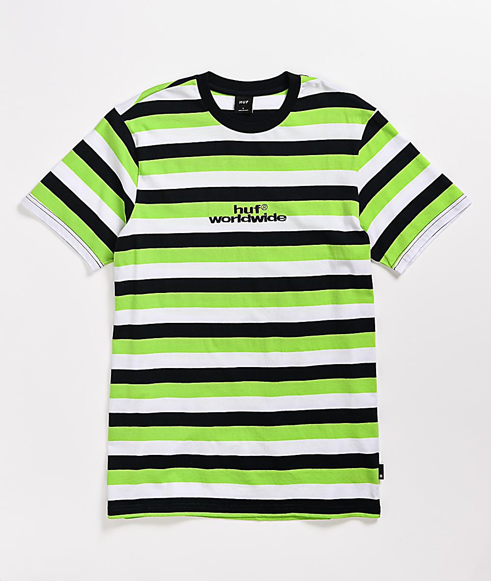 Huf Cruz Green Black White Stripe Knit T Shirt Zumiez