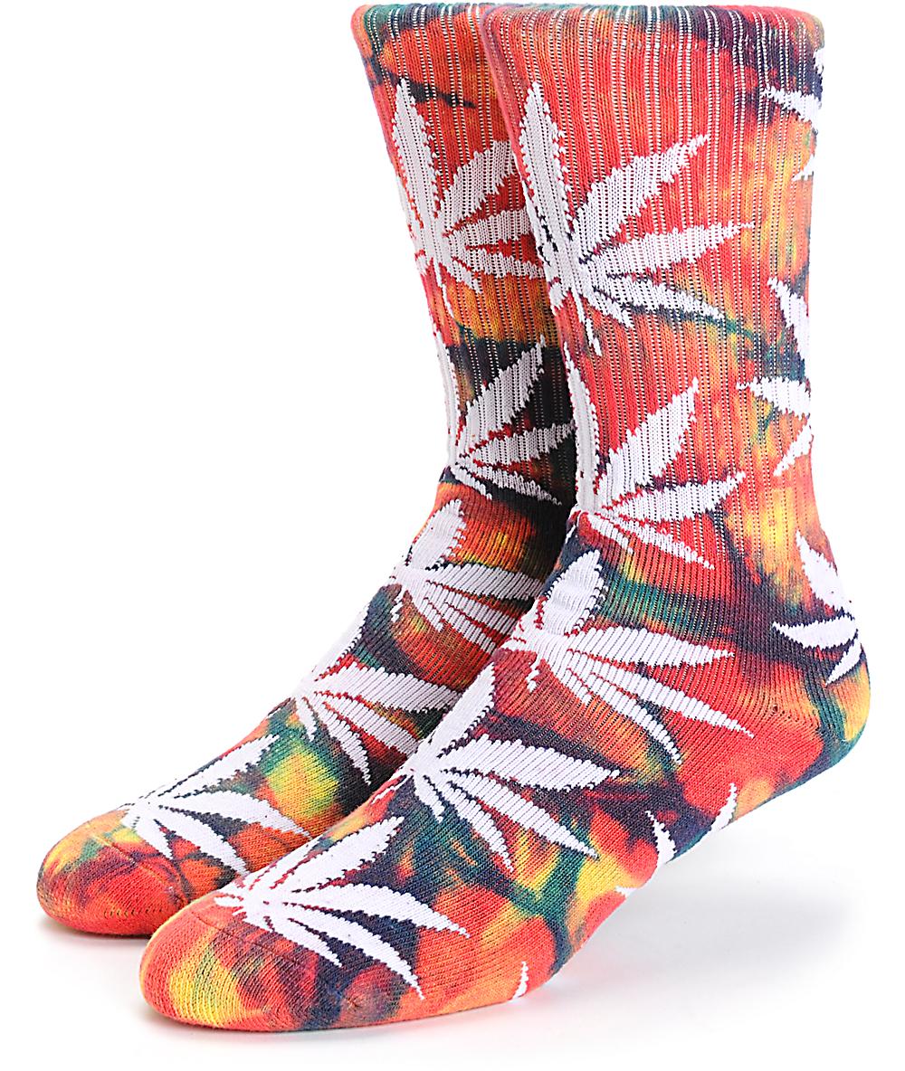 01f7cc35c HUF Plantlife Rainbow Tie Dye Crew Socks | Zumiez