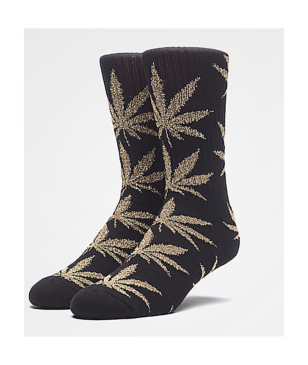 ee52283730437 HUF Plantlife Tinsel Black & Gold Crew Socks | Zumiez