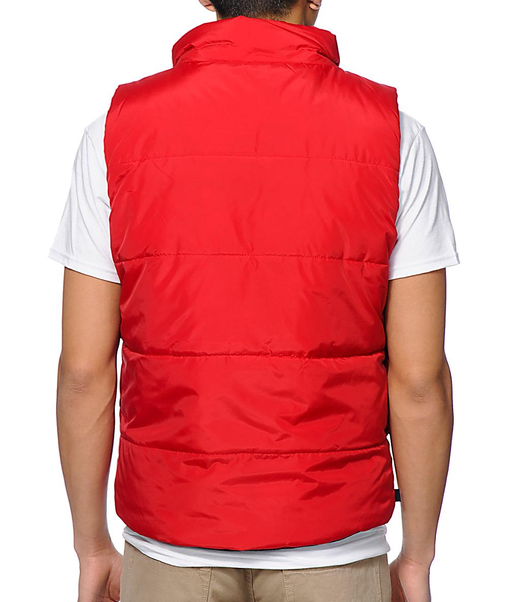 cb07c97fce072 HUF Verses Puffer Navy & Red Reversible Vest   Zumiez