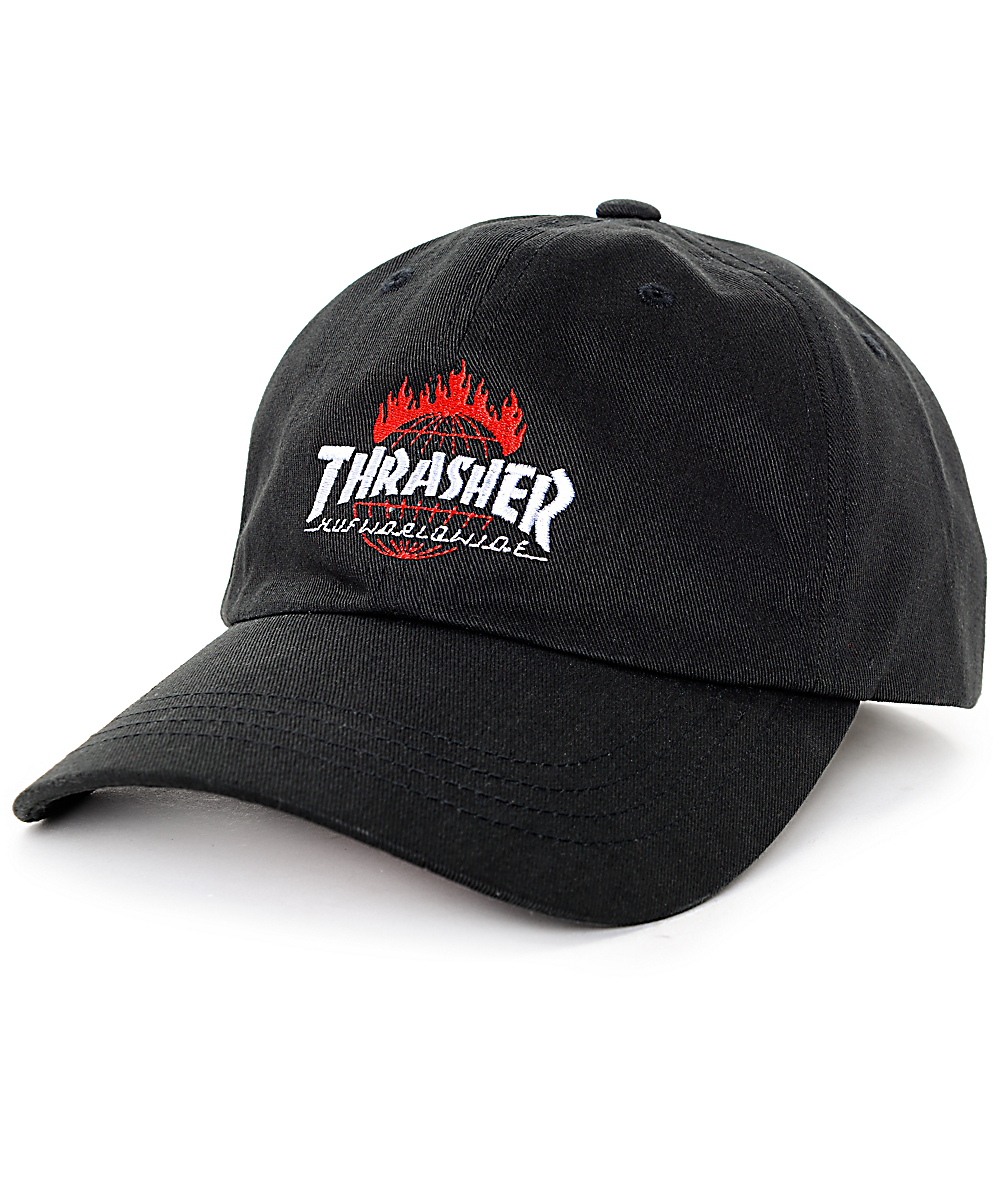 62535af78547ce HUF x Thrasher TDS Black 6 Panel Hat | Zumiez
